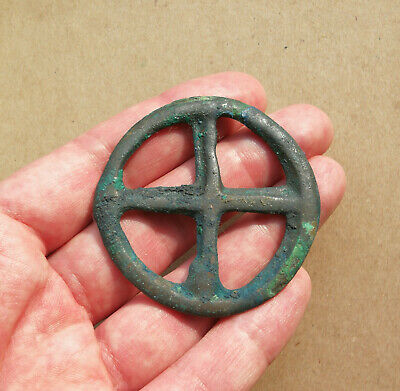 Ancient Viking Bronze Large pendant AMULET ** SUN ** GREAT SAVE RARE TYPE PATINA