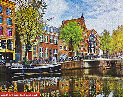 Jigsaw Puzzle Quality 500 Piece Amsterdam Scene Colourful Traditional Boxed