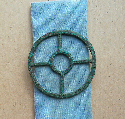 "Ancient Viking Bronze pendant AMULET ""SUN"" GREAT SAVE VERY RARE GREEN PATINA"