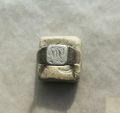 Ancient Viking Old Silver FABULOUS STATUS Ring Runic Ornament VERY RARE