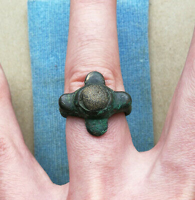 Unique Ancient Viking Old Bronze Ring With Stone Insert Super Rare Form