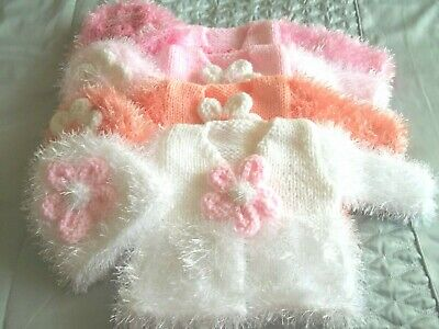 gorgeous hand knitted chunky fluffy jacket/hat set 0-3 month baby/reborn