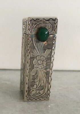 Vintage Coin Silver 800 Etched Lipstick Case Holder Jade With Mirror