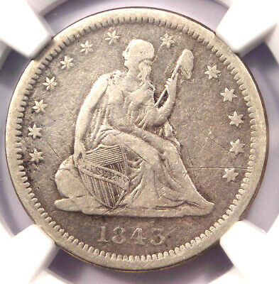 1843-O Seated Liberty Quarter 25C - Certified NGC VF Details - Rare Date!