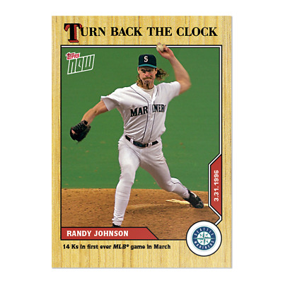 2020 Topps Now Turn Back The Clock #1 Randy Johnson Seattle Mariners 1996