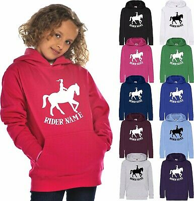 Personalised Horse Printed Hoodie Rider Name Adults Kids Riding Love Jumper Tops