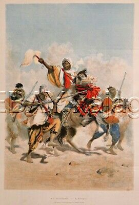 Mali French Sudan, Military Soldiers, HUGE Antique Color 1890s Folio-Sized Print