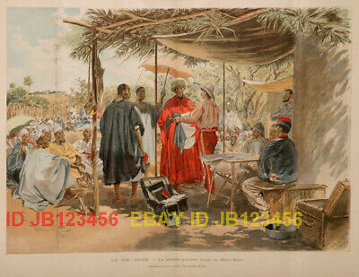 Mali French Sudan, Warrior of Baya, HUGE Antique Color 1890s Folio-Sized Print