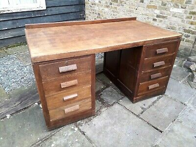 Mid Century Industrial Desk. Large Oak Plan Desk. Architects Desk