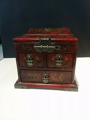 Chinese red laquer vanity box