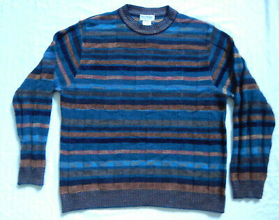 Orange Blue Black Striped Crew Neck Pullover Sweater - Large Mens Wool Italy Vtg