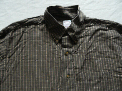 Brooks Brothers Wool Cotton Brown Plaid Button Down Shirt - Large Mens Vtg