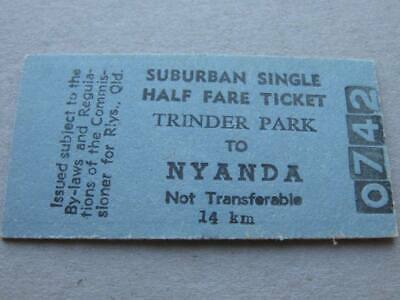 TRINDER PARK to NYANDA HALF FARE SINGLE TICKET - QUEENSLAND RAILWAYS
