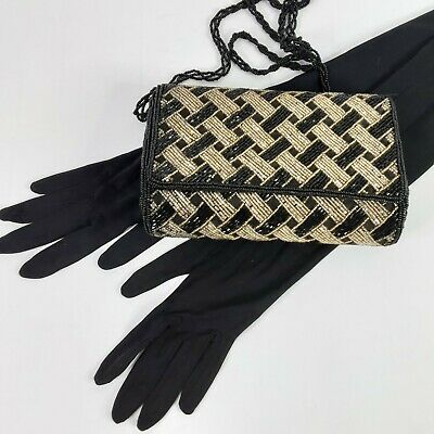 Vintage Evening Bag Clutch Black Gold Beaded  + Matching Elbow Length  Gloves