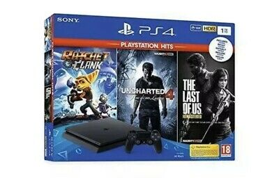 Console Ps4 1Tb+5 Giochi-Ratchet E Clank-Uncharted 4-The Last Of Us-Anthem-Fortn