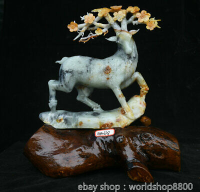 """14.8"""" Collect China Art Natural Xiu Jade Carved sika deer spotted deer Sculpture"""
