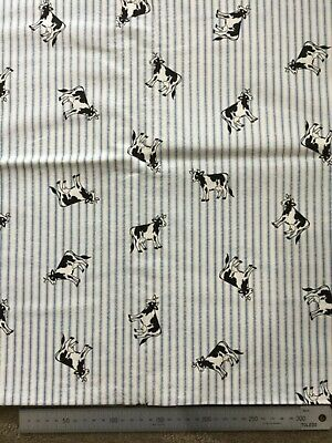 Quilting Patchwork Sewing Fabric - Country Cows on Stripes - 1 metre