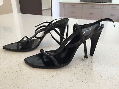 Lovely Stylish Black Leather Slingback Sandals By Shy - Eu 39.5
