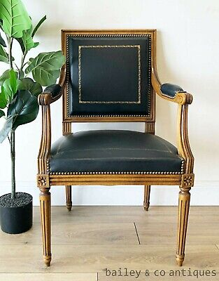 Antique French Black Office Desk Armchair Leather Louis XVI Style - RF129