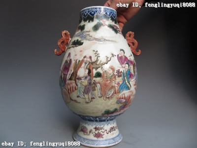 Chinese regius Old WuCai porcelain portray Eight Immortals God Crock Pot Vase