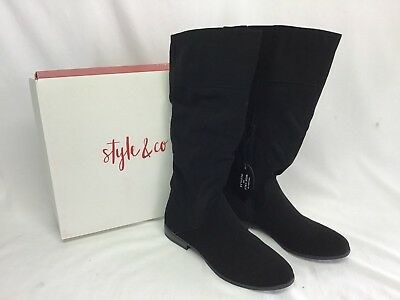 STYLE&CO Women's Boots Black Mid Calf Slouchy Pull on Flat Boot NWB Size 8