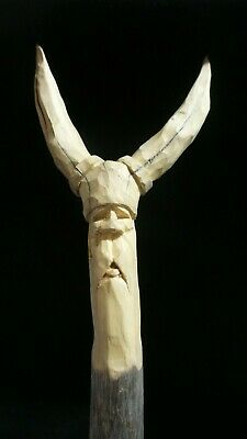 HAND CARVED  whimsical Viking wall hanging decoration carved from a river stick