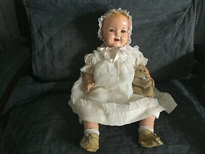 Antique Composition Baby Flirty eyed Shirley Temple doll by Ideal ca 1930s 18in