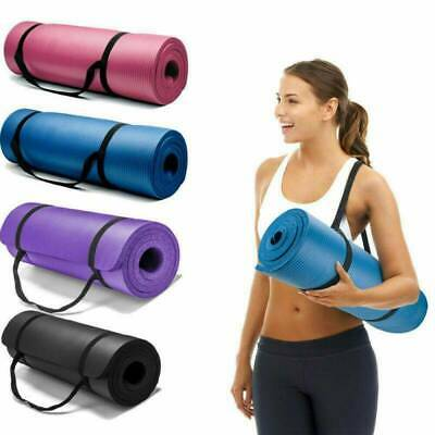 Extra Thick Extra Long Yoga Mat Non-Slip Exercise Pilates Gym Camping Straps NEW
