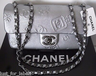 Rare CHANEL Lucky Charms Perfume 5 CC Flower Icons Symbols Leather Flap Bag NWT