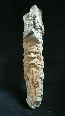 """HAND CARVED  whimsical 9"""" wood spirit wall hanging  carved from 100 year"""
