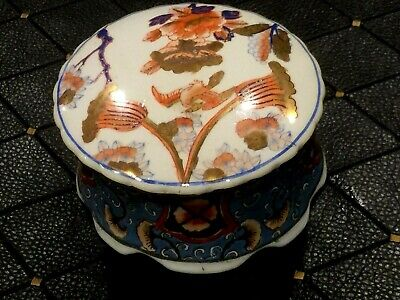 Antique Chinese Hand Painted Gold Enamel Porcelain Jewelery Box