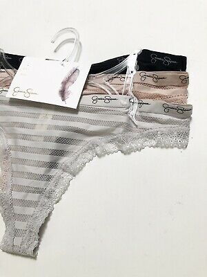 NWT Jessica Simpson 3Pack Thong Panties SizeL Blue Gray Black Pink Nude Lace