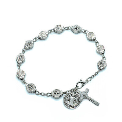 Metal Saint St. Benedict Medals Rosary Bracelet With Crucifix And Medal Dangles