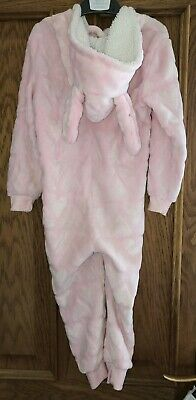 Girls Pink Hooded Bunny All In One Size 5-6 Years