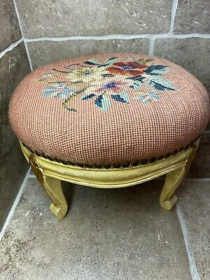 🔥Antique Victorian Needlepoint Footstool with Wooden Legs BEST DEAL!🔥