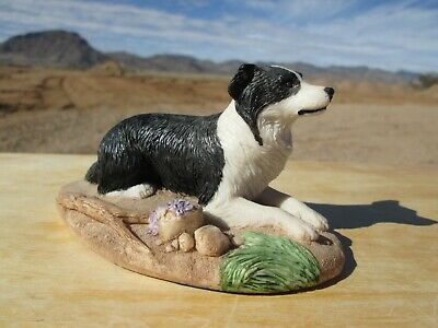 Charmstone, Dog Figurine, Hand Painted Cold Cast Marble, Border Collie, 1980's