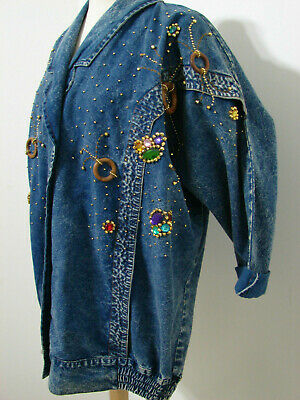 PRET Vintage Jacket 1980's Hand Bead & Jeweled Batwing Sleeve Gathered Button L