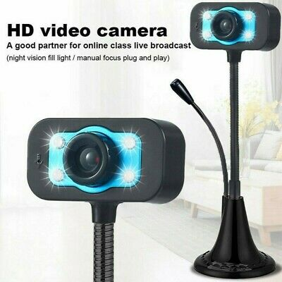 USB HD LED Web Camera for Computer PC Laptop Wireless Bluetooth Webcam w/Mic