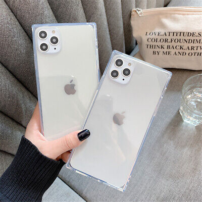 For iPhone11 Pro Max XS XR 8+Clear Crystal Soft TPU Slim Square Back Case Cover