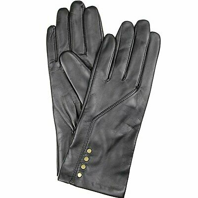 DENTS Women's Leather Gloves with Fleece Lining Warm Winter - Black