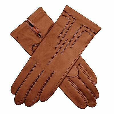 DENTS Women's Leather Gloves with Stitch Detail & Satin Lining Warm Winter - ...