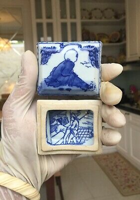 A RARE..Chinese Antique Blue and White Small Porcelain Box Covered Kangxi Mark