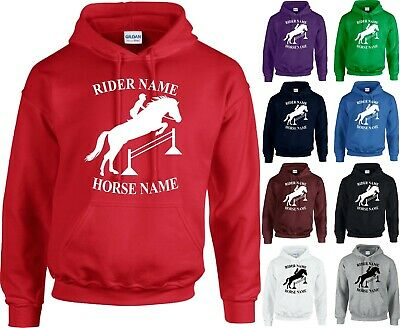 Personalised Horse Printed Hoodie Equestiran Pony Riding Kids Adults Tops Jumper