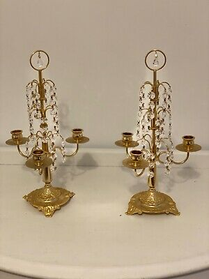 Vintage Sold Brass and Crystal Candle Holders (Pair)