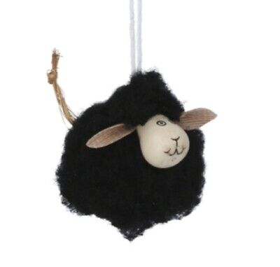 Gisela graham Cute Black Hanging Woolly Mini Sheep decoration Country Easter