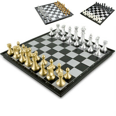 Magnetic Chess Folding Board Travel Set Game English Manual Plastic Light