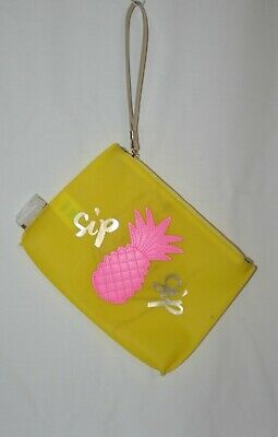 Lilly Pulitzer Jelly Wristlet Pouch Pineapple Zipper Sip Yellow Pink ~ NWOT