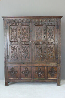 Antique Oak Livery Cupboard Hall Robe Storage Wardrobe
