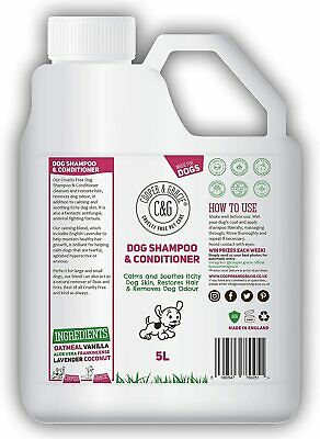 DOG SHAMPOO & CONDITIONER FOR DIRTY SMELLY DOGS ORGANIC NATURAL SENSITIVE 5Litre