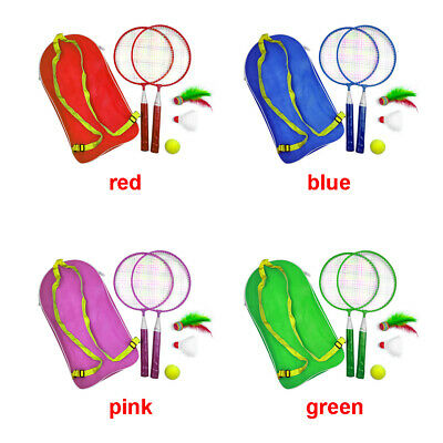 Kids Children Badminton Racket With Ball & Shuttlecock Set 2 Player Sport Games
